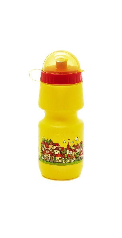 """Фляга детская с защитой от пыли 500мл, желтая, рисунок - """"город"""""""